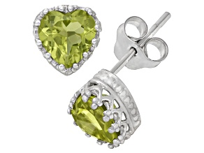 Peridot Sterling Silver Crown Stud Earrings 1.48ctw