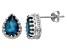 London Blue Topaz Sterling Silver Crown Stud Earrings 2.66ctw