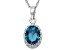 London Blue Topaz Sterling Silver Crown Pendant 1.21ctw