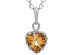 Citrine Sterling Silver Crown Pendant .74ctw
