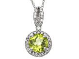 Peridot And Synthetic White Sapphire Sterling Silver Pendant 1.47ctw