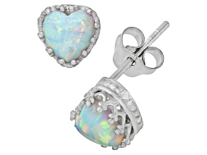 Lab Created Opal Sterling Silver Crown Stud Earrings 1.48ctw