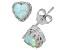Lab Created Opal Sterling Silver Crown Stud Earrings 1.48ctw