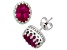 Lab Created Ruby Sterling Silver Crown Stud Earrings 2.42ctw