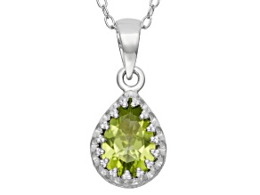 Peridot Sterling Silver Crown Pendant With Chain 1.33ctw