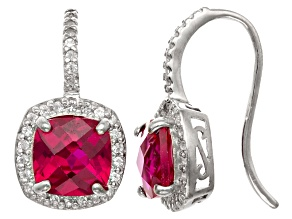 Synthetic Ruby And Synthetic White Sapphire Sterling Silver Fish Hook Earrings