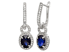 Synthetic Blue And White Sapphire Sterling Silver Leverback Earrings 2.99ctw