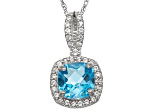 Swiss Blue Topaz And Lab Created White Sapphire Sterling Silver Pendant 1.47ctw