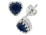 Lab Created Sapphire Sterling Silver Crown Stud Earrings 1.48ctw