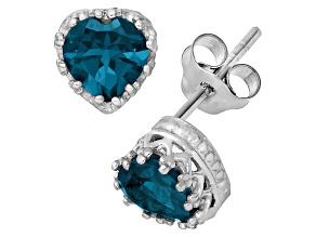 London Blue Topaz Sterling Silver Crown Stud Earrings 1.48ctw