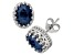 Lab Created Sapphire Sterling Silver Crown Stud Earrings 2.42ctw