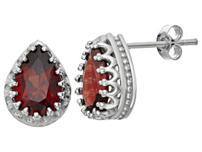 Garnet Sterling Silver Crown Stud Earrings 2.66ctw