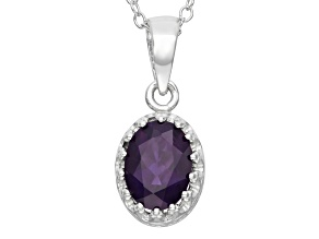Amethyst Sterling Silver Crown Pendant With Chain 1.21ctw