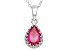 Synthetic Ruby Sterling Silver Crown Pendant With Chain 1.33ctw