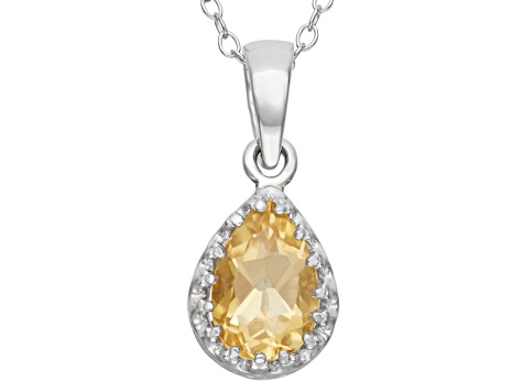 Citrine Sterling Silver Crown Pendant With Chain 1.33ctw