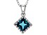 London Blue Topaz Sterling Silver Crown Pendant With Chain 1.24ctw