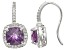 Amethyst And Synthetic White Sapphire Sterling Silver Fish Hook Earrings 2.88ctw