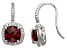 Red Garnet And Synthetic White Sapphire Sterling Silver Fish Hook Earrings