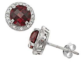 Red Garnet And Synthetic White Sapphire Sterling Silver Stud Earrings 3.04ctw