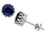 Lab Created Sapphire Sterling Silver Crown Stud Earrings 1.68ctw