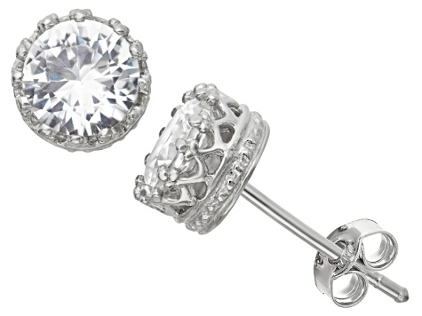 Synthetic White Sapphire Sterling Silver Crown Stud Earrings 1 68ctw