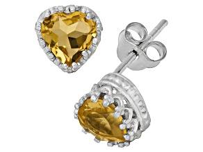 Citrine Sterling Silver Crown Stud Earrings 1.48ctw
