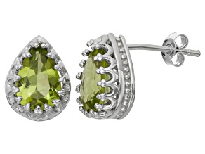 Peridot Sterling Silver Crown Stud Earrings 2.66ctw
