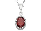 Garnet Sterling Silver Crown Pendant With Chain 1.21ctw