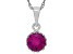 Synthetic Ruby Sterling Silver Crown Pendant With Chain .84ctw