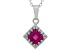 Synthetic Ruby Sterling Silver Crown Pendant With Chain 1.24ctw