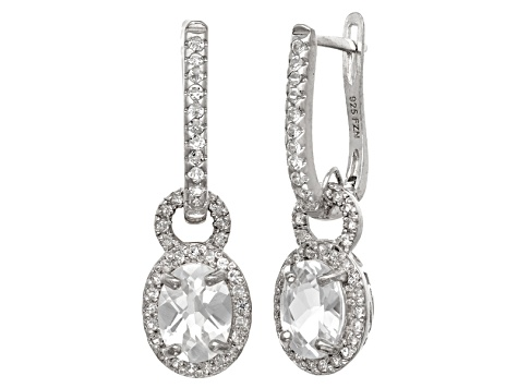 Synthetic White Sapphire Sterling Silver Leverback Earrings 2.99ctw