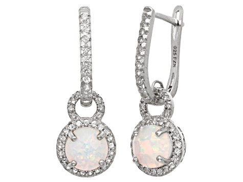 Synthetic Opal And Synthetic White Sapphire Sterling Silver Latchback Earrings