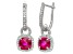 Synthetic Ruby And Synthetic White Sapphire Sterling Silver Leverback Earrings