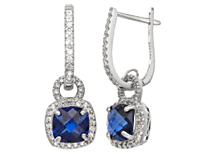 Synthetic Blue And White Sapphire Sterling Silver Leverback Earrings 3.13ctw