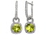 Peridot And Synthetic White Sapphire Sterling Silver Leverback Earrings 3.13ctw