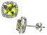 Peridot And Synthetic White Sapphire Sterling Silver Stud Earrings 2.80ctw
