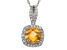 Citrine And Synthetic White Sapphire Sterling Silver Pendant With Chain 1.47ctw