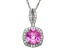 Synthetic Pink And White Sapphire Sterling Silver Pendant With Chain 1.47ctw