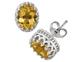 Citrine Sterling Silver Crown Stud Earrings 2.42 Ctw