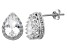 Synthetic White Sapphire Sterling Silver Crown Stud Earrings 2.66ctw
