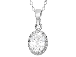 Lab Created White Sapphire Sterling Silver Crown Pendant With Chain 1.21ctw