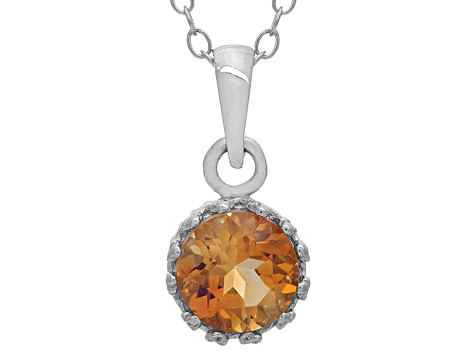 Citrine Sterling Silver Crown Pendant With Chain .84ctw
