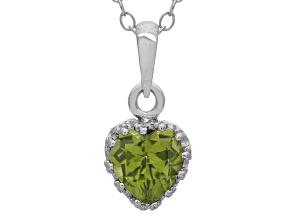 Peridot Sterling Silver Crown Pendant .74ctw