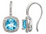 Swiss Blue Topaz And Synthetic White Sapphire Sterling Silver Fish Hook Earrings