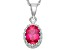 Synthetic Ruby Sterling Silver Crown Pendant With Chain 1.21ctw