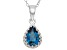 London Blue Topaz Sterling Silver Crown Pendant With Chain 1.33ctw