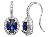 Lab Created Blue And White Sapphire Sterling Silver Fish Hook Earrings 2.74ctw