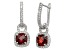 Red Garnet And Synthetic White Sapphire Sterling Silver Leverback Earrings
