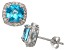 Swiss Blue Topaz And Synthetic White Sapphire Sterling Silver Stud Earrings