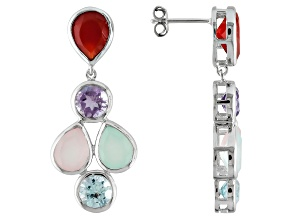 Multi Colored Chalcedony Sterling Silver Earrings 2.39ctw.